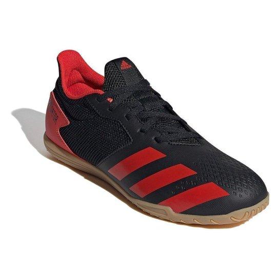 Chuteira Futsal Adidas Predator 20 4 IN - Preto+Vermelho