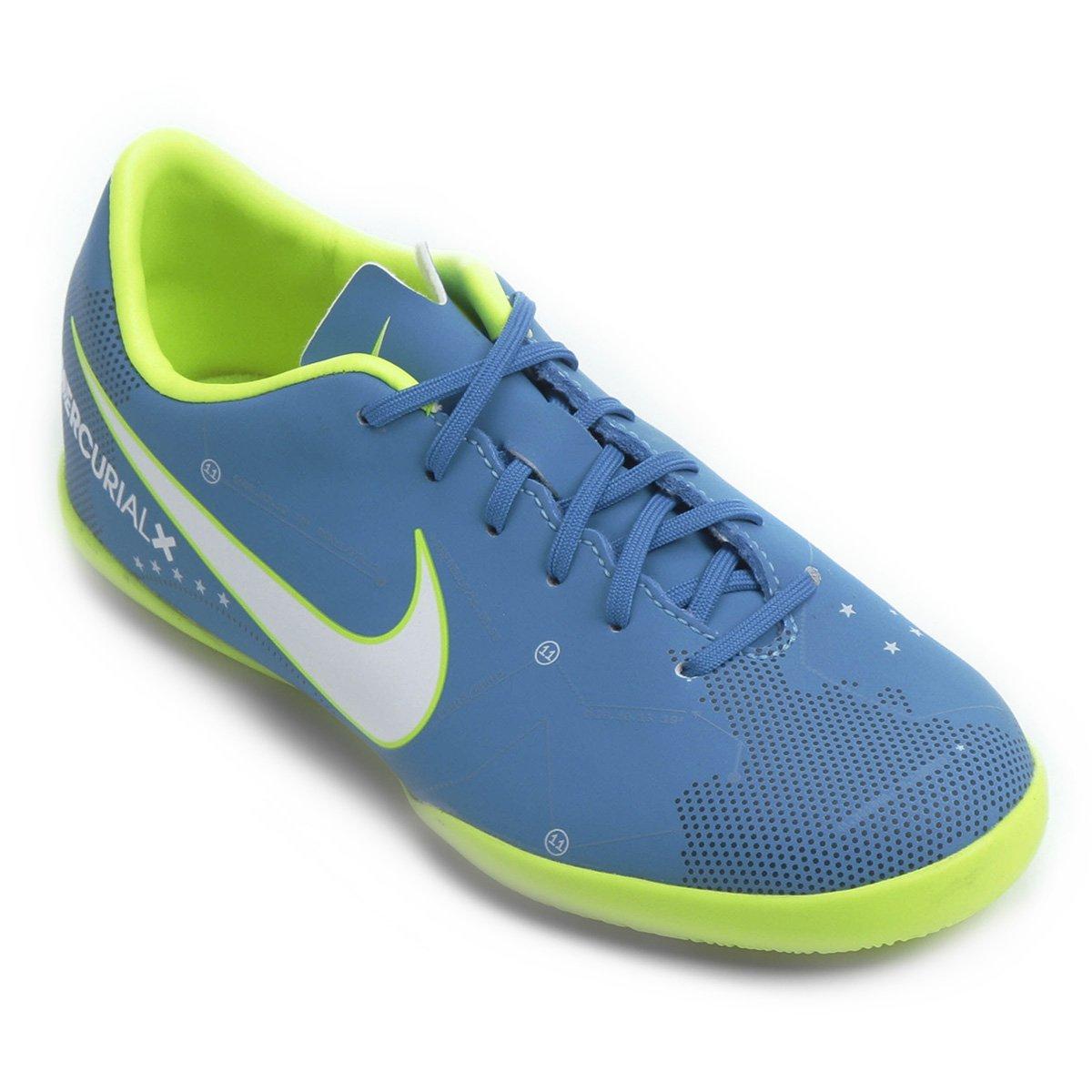 a1bc2ab1572ca Chuteira Futsal Infantil Nike Mercurial Victory 6 Neymar Jr IC - Azul e  Branco