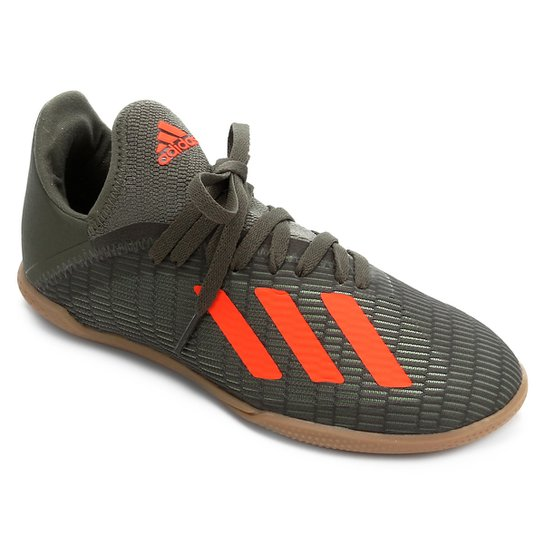 Chuteira Futsal Juvenil Adidas X 19 3 IN - Verde+laranja