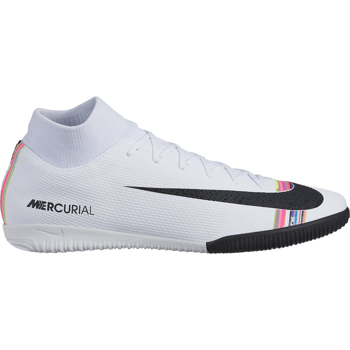 8b707d6122 Chuteira Futsal Nike Mercurial Superfly 6 Academy CR7 IC - Branco e Preto