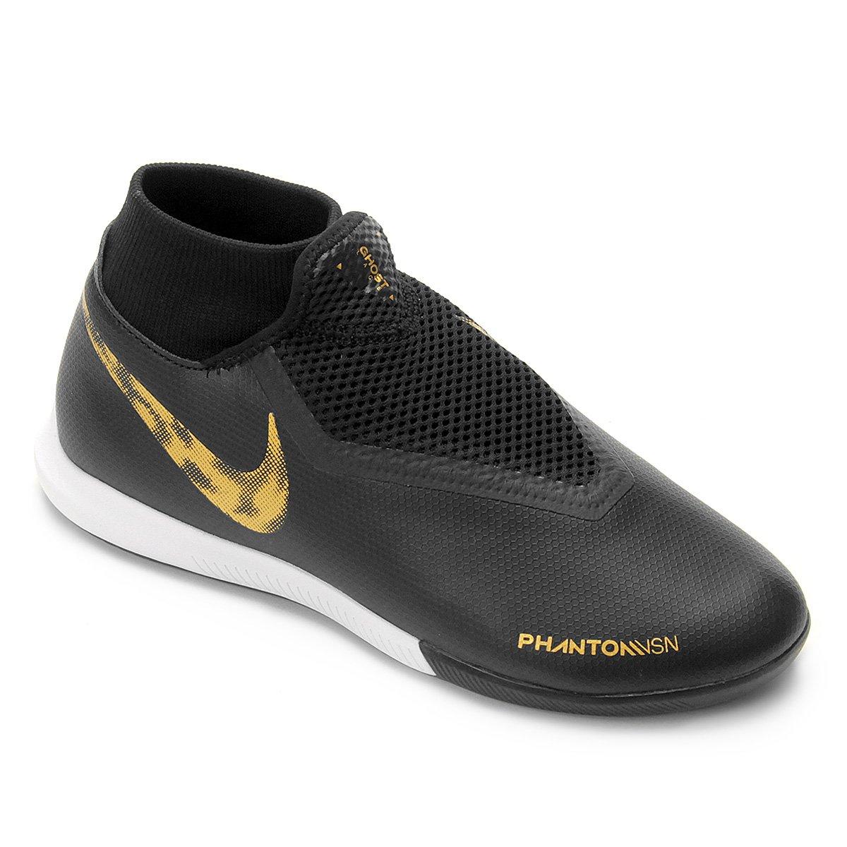 Chuteira Futsal Nike Phantom Vision Academy DF IC - Preto e Dourado ... a8b518f358a2b