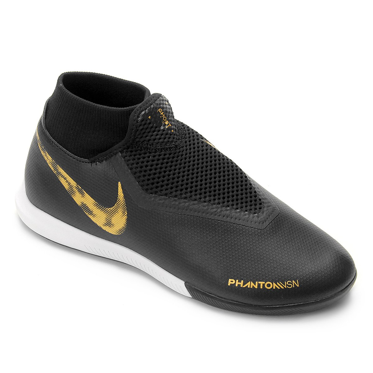 7147f09516 Chuteira Futsal Nike Phantom Vison Academy DF IC - Preto e Dourado ...