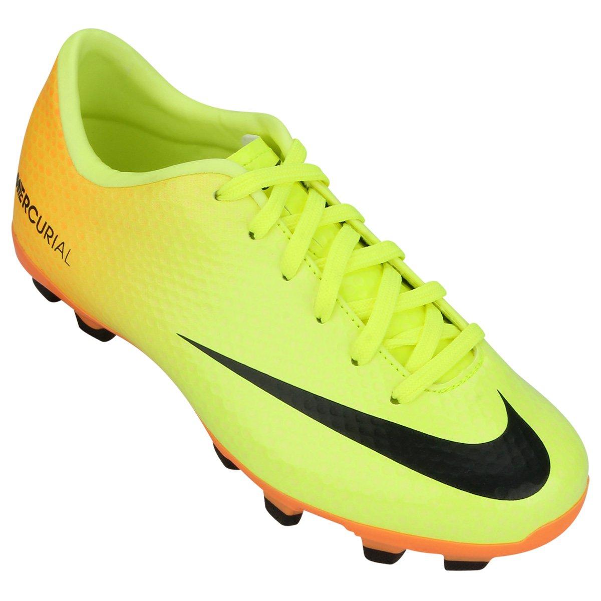 41facad83d ... Chuteira Nike Mercurial Victory 4 FG EMB Infantil - Verde Limão e  Laranja ...