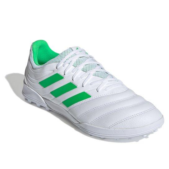 Chuteira Society Adidas Copa 19 3 TF - Branco+Verde
