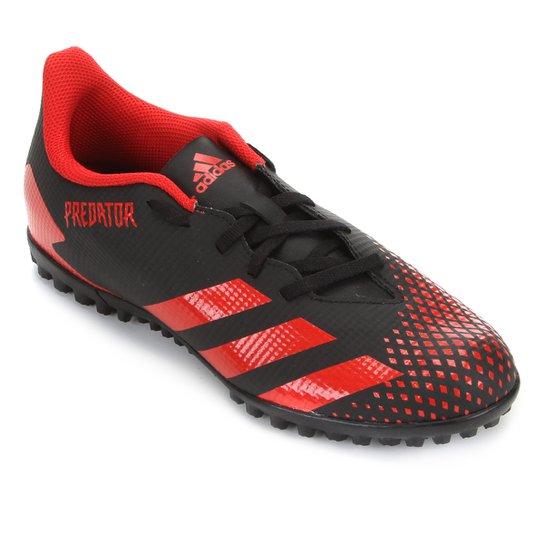 Chuteira Society Adidas Predator 20 4 TF - Preto+Vermelho
