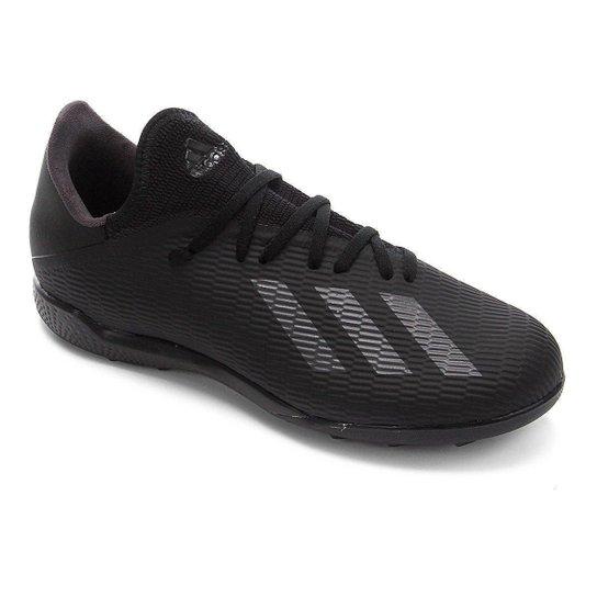 Chuteira Society Adidas X 19 3 TF - Preto+Prata