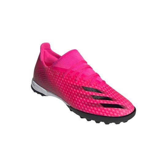Chuteira Society Adidas X Ghosted 3 - Rosa+Branco