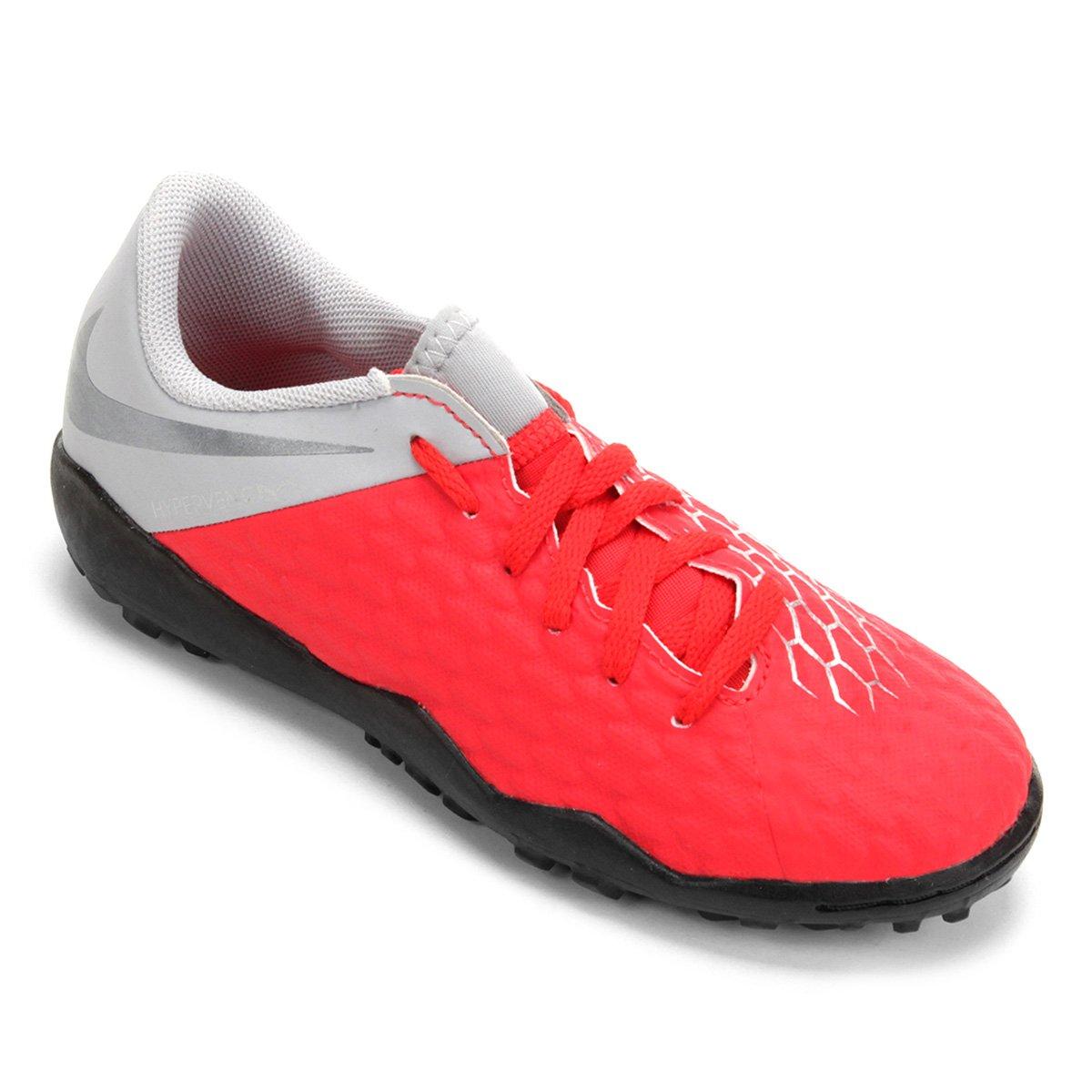 Chuteira Society Infantil Nike Hypervenom 3 Academy TF - Vermelho e ... b4dd189dbcc21