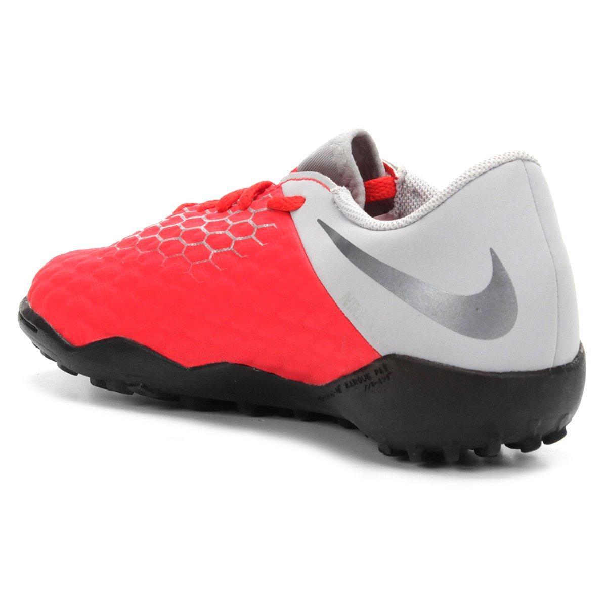 Chuteira Society Infantil Nike Hypervenom 3 Academy TF - Vermelho e ... d2813e23a2f7c