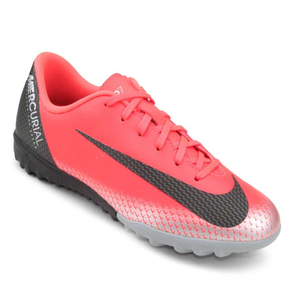 Chuteira Society Infantil Nike Mercurial Vapor 12 Academy GS CR7 TF ... 50e71e4bf890f