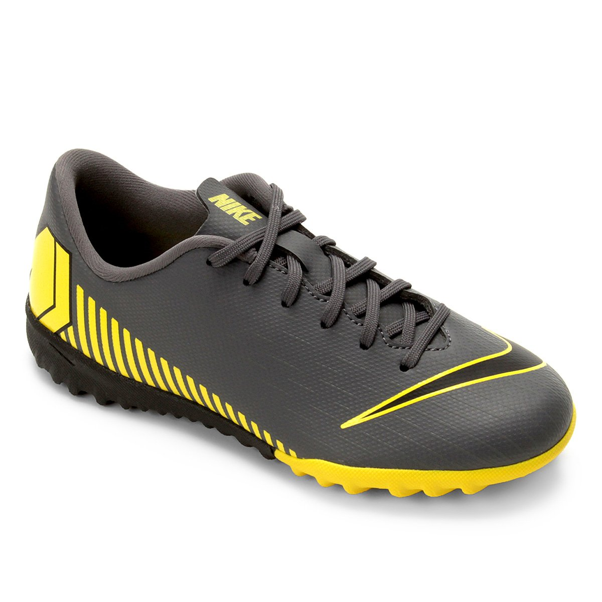 ecfde2b938fce Chuteira Society Infantil Nike Mercurial Vapor 12 Academy Gs TF - Cinza e  Amarelo | Loja do Inter