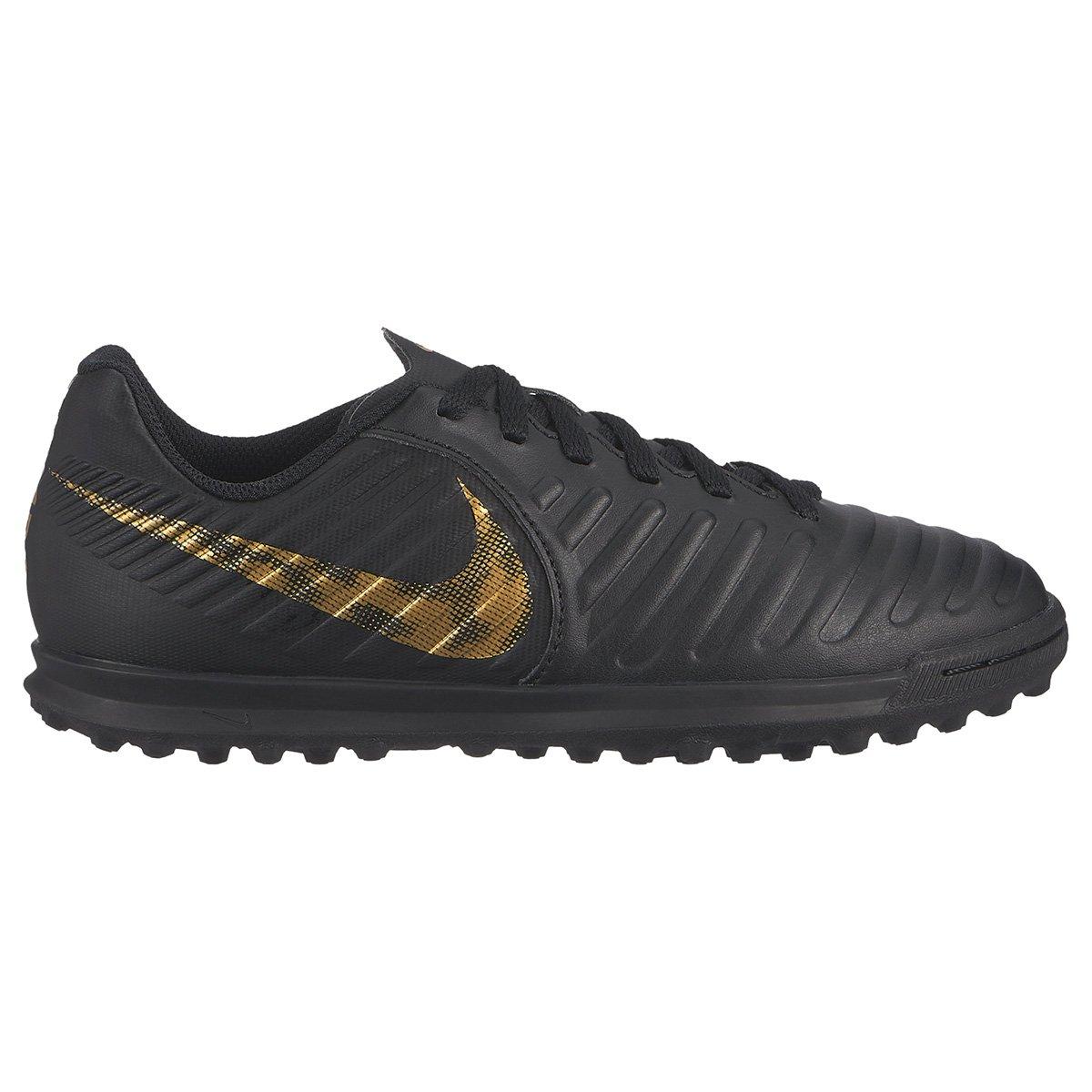 e9fdc6ef8 Chuteira Society Infantil Nike Tiempo Legend 7 Club TF - Preto e Dourado