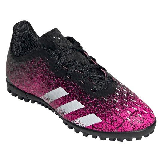 Chuteira Society Juvenil Adidas Predator Freak 4 - Rosa+Branco