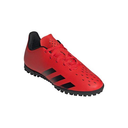 Chuteira Society Juvenil Adidas Predator Freak 4 - Vermelho+Preto