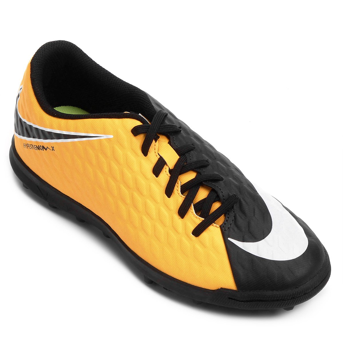 Chuteira Society Nike Hypervenom Phade 3 - Laranja e Preto - Compre ... 773c299cd536c