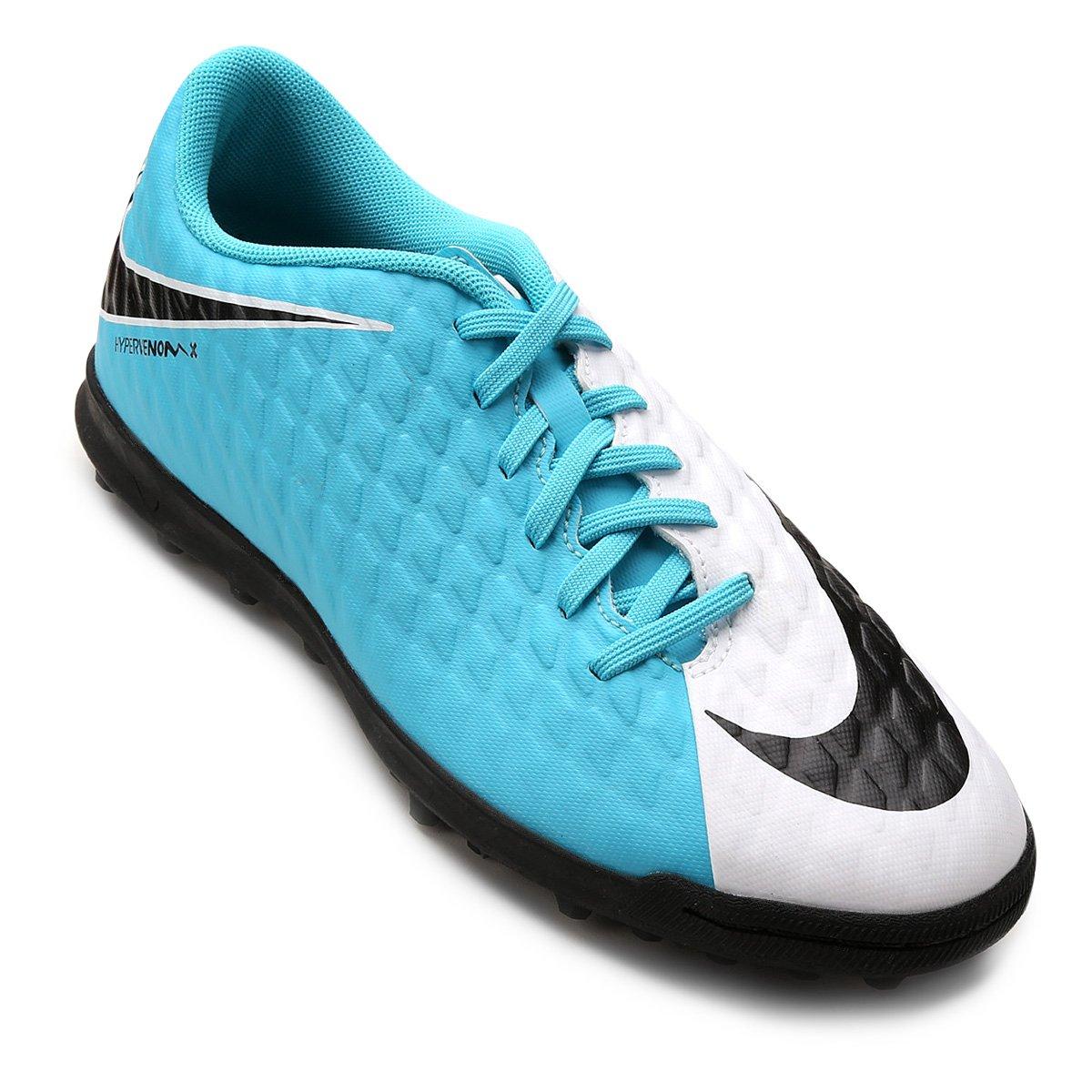 Chuteira Society Nike Hypervenom Phade 3 - Branco e Azul - Compre ... 6982e64861149