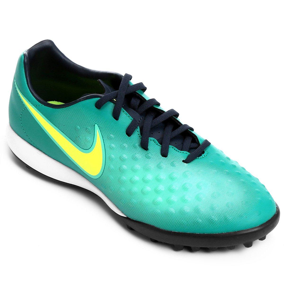Chuteira Society Nike Magista Onda II TF - Azul e Verde - Compre ... df91bf10806e9