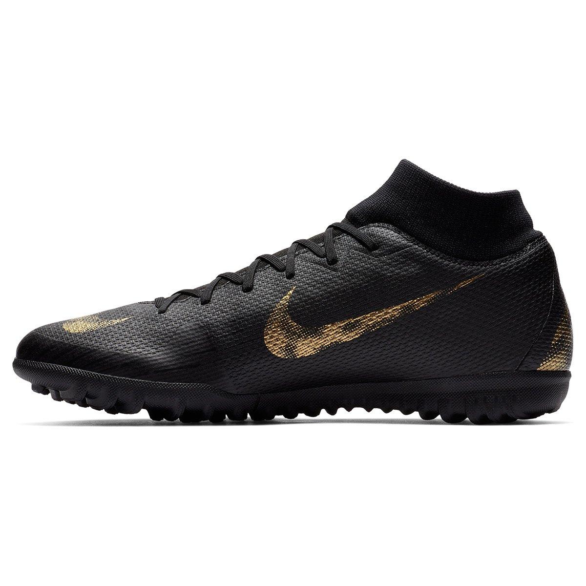 Chuteira Society Nike Mercurial Superfly 6 Academy - Preto e Dourado ... 09339edc816a5