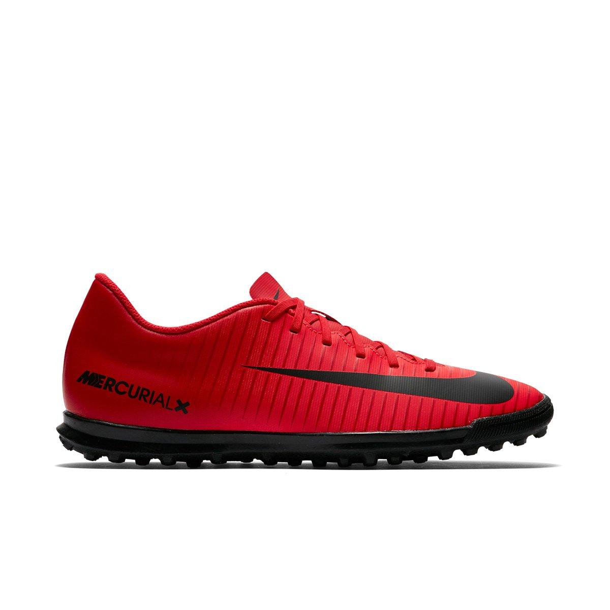 Chuteira Society Nike Mercurial Vortex 3 TF - Vermelho e Preto ... c805b6f5cd055