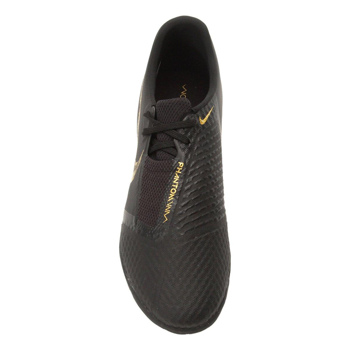 Chuteira Society Nike Phantom Venom Academy TF - Preto e Dourado ... 162f360d01312