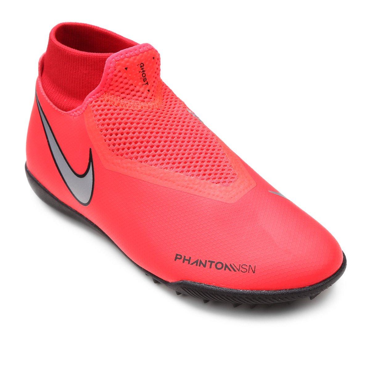 Chuteira Society Nike Phantom Vision Academy DF TF - Vermelho e Prata -  Compre Agora  777bb8c5ce5