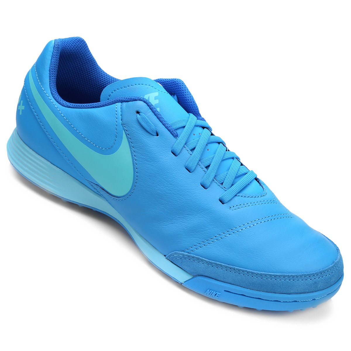 Chuteira Society Nike Tiempo Genio 2 Leather TF - Azul Piscina ... 7ba44c95f8538