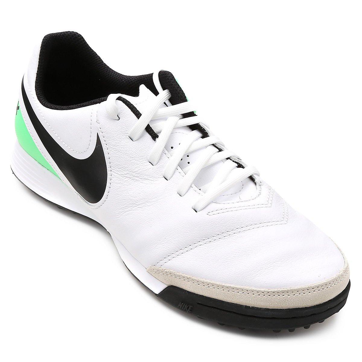 Chuteira Society Nike Tiempo Genio 2 Leather TF - Branco e Verde ... 35da53c005464