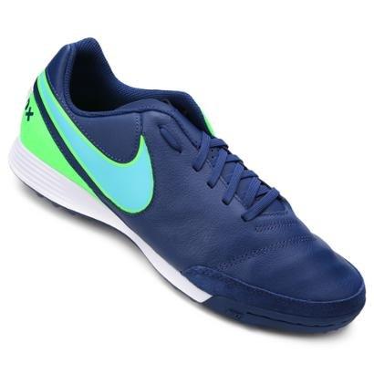 ee6cdf6af9 Chuteira Society Nike Tiempo Genio 2 Leather TF - Azul e Verde - Compre  Agora