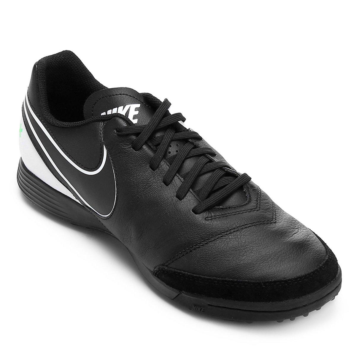 92bca87557 Chuteira Society Nike Tiempo Genio 2 Leather TF - Preto e verde ...