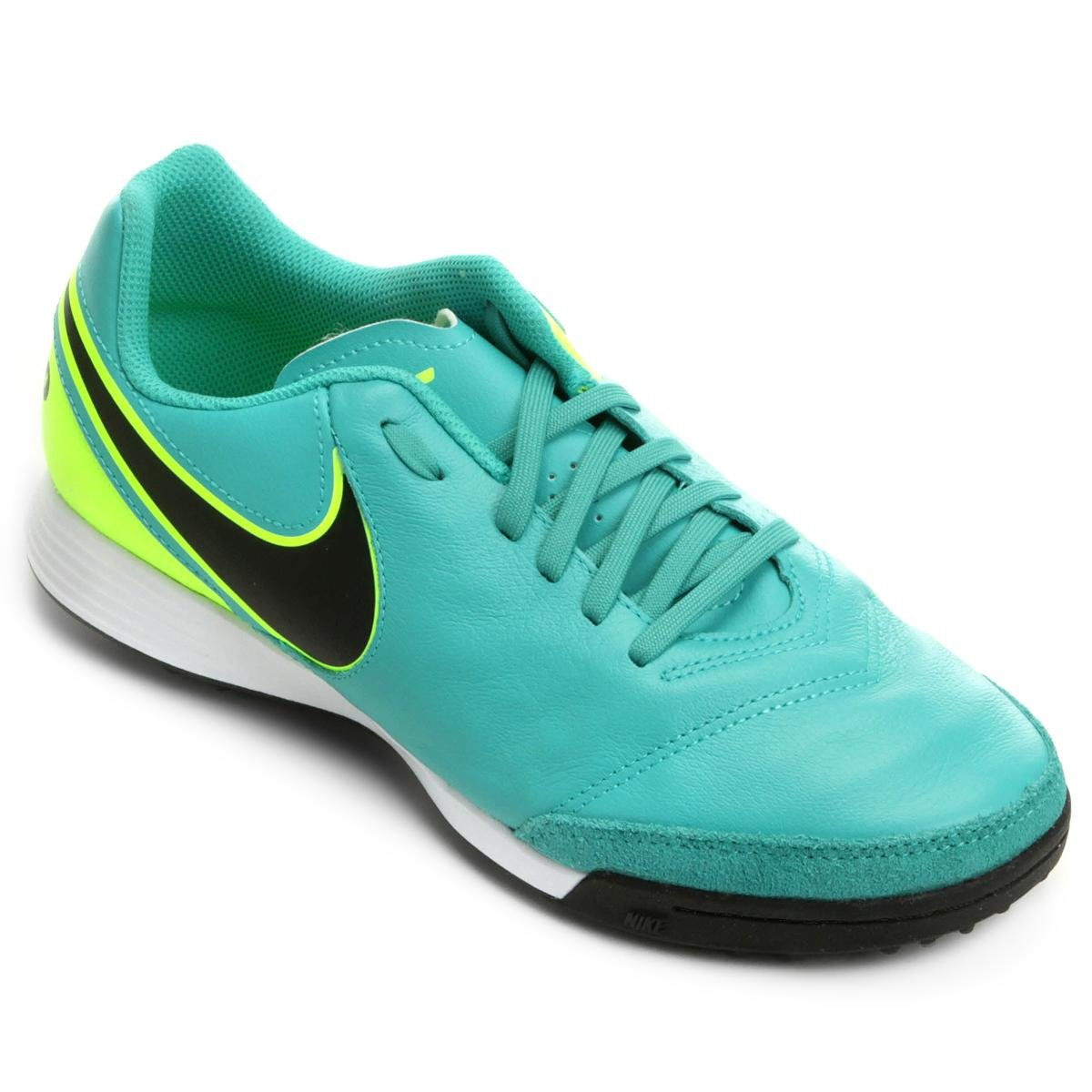 52fb1fbcce Chuteira Society Nike Tiempo Genio 2 Leather TF - Verde água ...