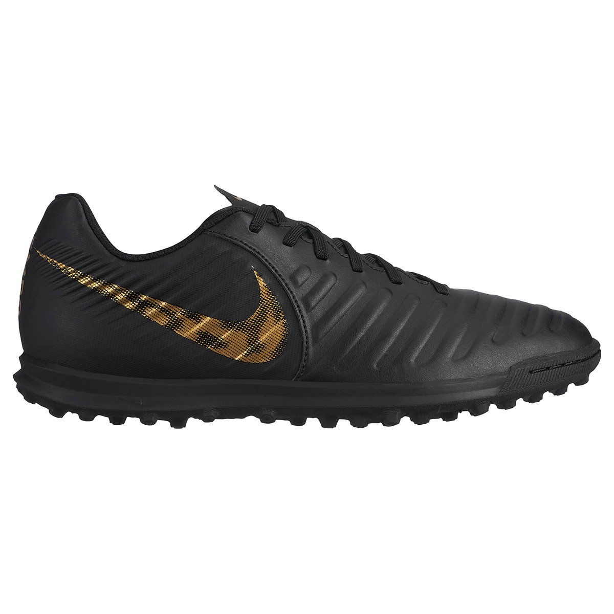 70ba8511d6876 Chuteira Society Nike Tiempo Legend 7 Club TF - Preto e Dourado - Compre  Agora