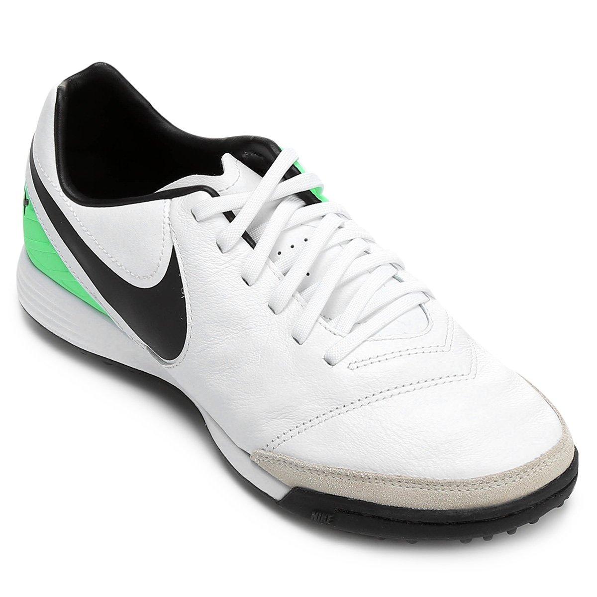 55a2a35298d43 Chuteira Society Nike Tiempo Mystic 5 TF - Branco e Verde - Compre Agora