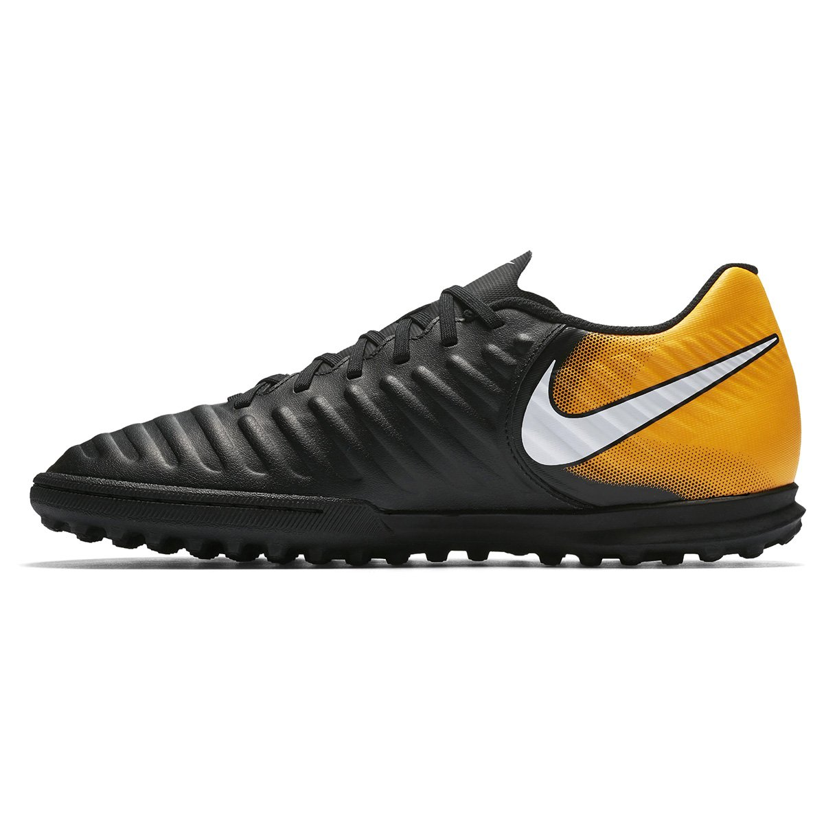 Chuteira Society Nike Tiempo Rio 4 TF - Preto e Laranja - Compre ... e0a0171d29bdc