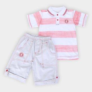 Conjunto Camisa Polo e Bermuda Internacional Juvenil