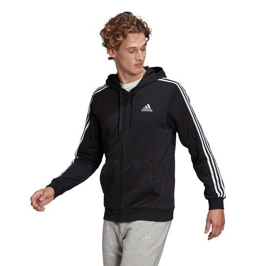 Jaqueta Adidas Essentials 3 Listras Masculina - Preto+Branco