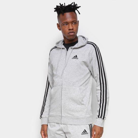 Jaqueta Adidas Essentials 3 Listras Masculina - Cinza+Preto
