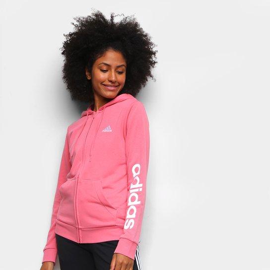 Jaqueta Adidas Linear Feminina - Rosa+Branco