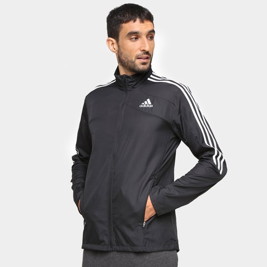Jaqueta Adidas Marathon 3 Stripes Masculina - Preto+Branco