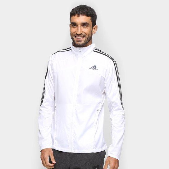 Jaqueta Adidas Marathon 3 Stripes Masculina - Branco+Preto