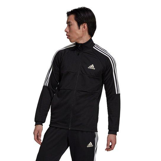 Jaqueta Adidas Sereno 3 Listras Masculina - Preto+Branco