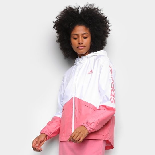 Jaqueta Corta Vento Adidas Linear Colorblock Feminina - Branco+Rosa