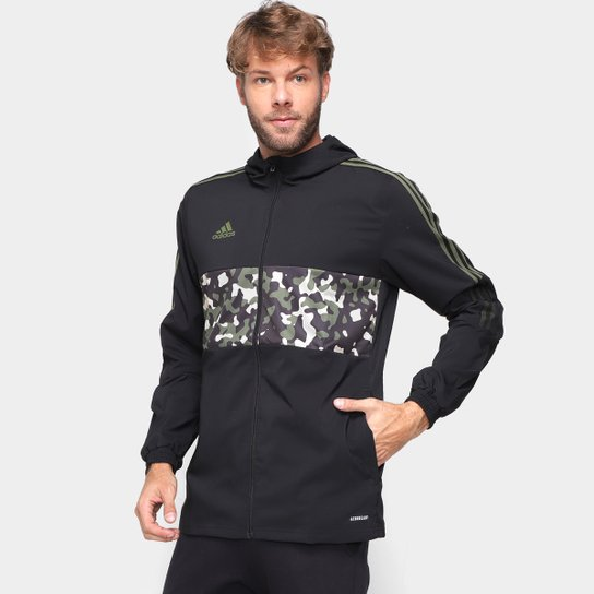 Jaqueta Corta-Vento Adidas Tiro Aop Masculina - Preto+Cinza