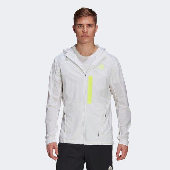 Jaqueta Corta Vento Adidas Translúcida Marathon Impermeável Masculina - Branco