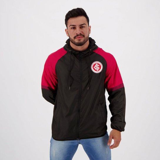Jaqueta Corta-Vento Internacional Capuz Masculina - Preto+Vermelho