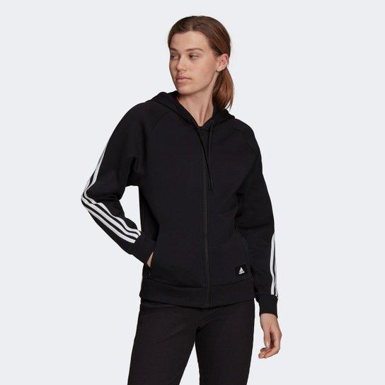 Jaqueta Moletom Adidas Sportswear Future Icon 3 Stripes Feminina - Preto