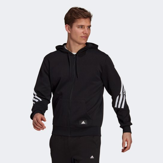 Jaqueta Moletom Adidas Sportswear Future Icon 3 Stripes Masculina - Preto