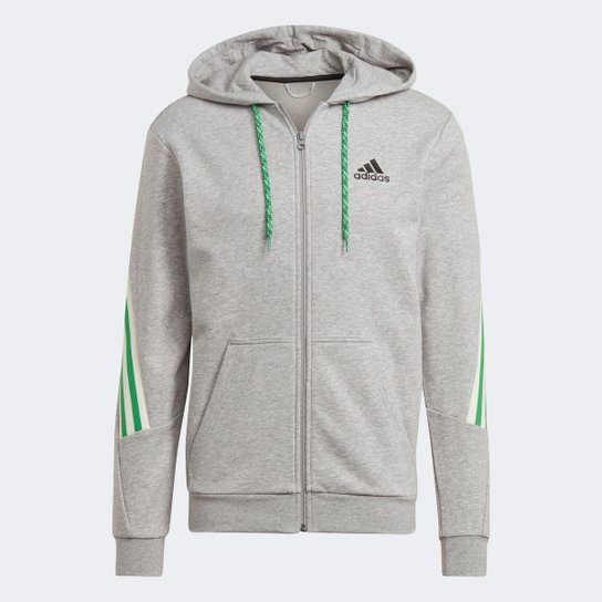 Jaqueta Moletom Adidas Sportwear 3S Masculina - Cinza+Preto