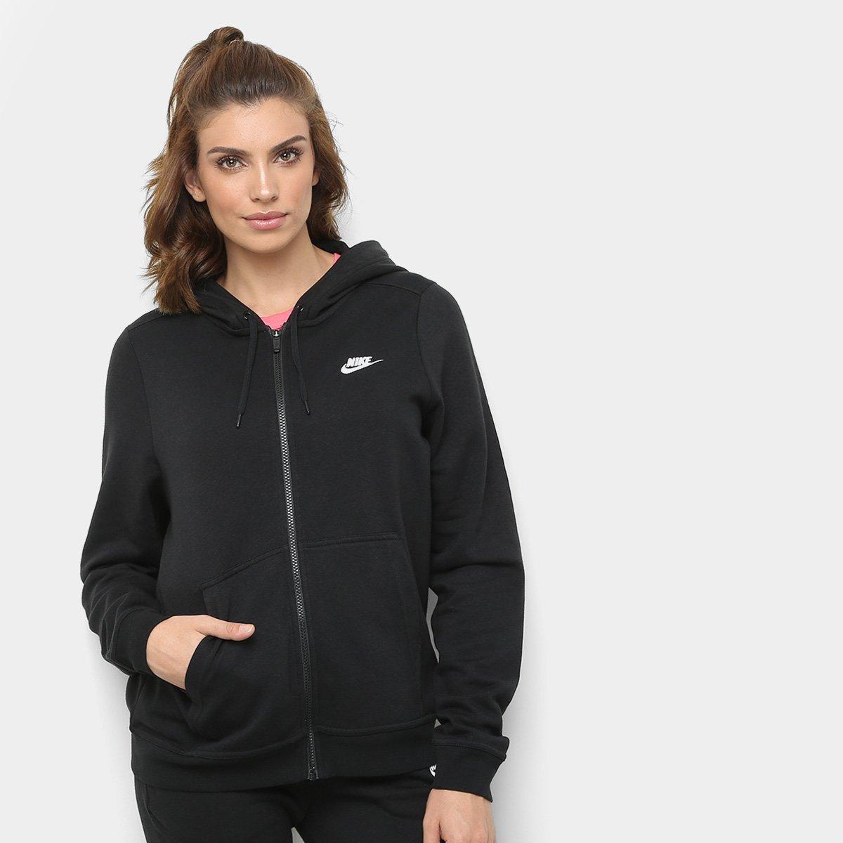 662618be92 Jaqueta Nike Hoodie Feminina - Preto e Branco