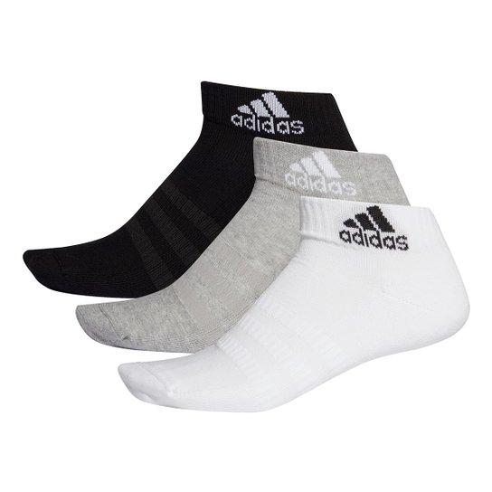 Kit Meia Adidas Cano Baixo Cush o c/ 3 pares - Cinza