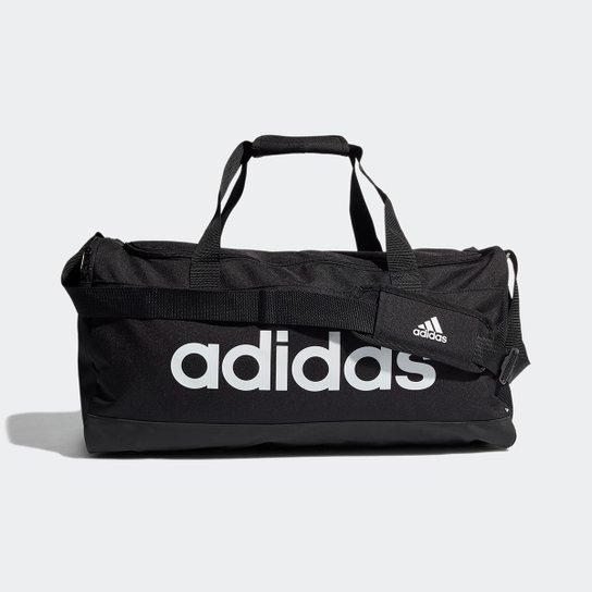 Mala Adidas Duffel Linear - Preto+Branco